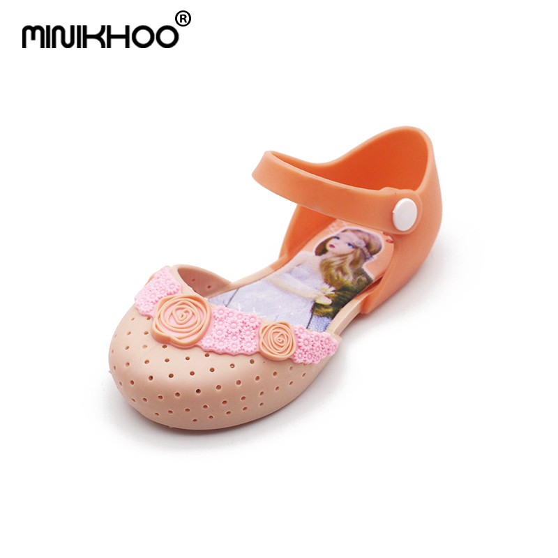 Mini Melissa 2018 New Melissa Jelly Princess Sandals Shoes Breathable Flower Melissa Girl Princess Sandals Girls Rose Sandals