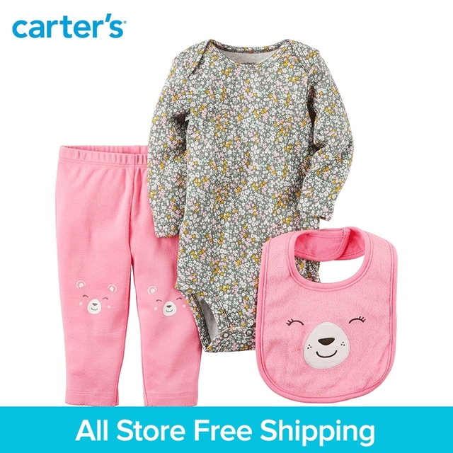 1fa0c8fd98c Carter s 3-piece baby children kids clothing Girl Spring Summer pink bear Little  Character Set 126G960