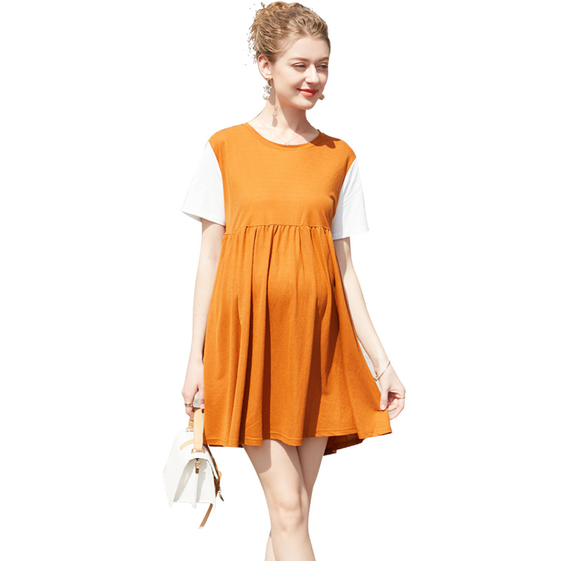 Europe New 2018 Hot Pregnant Women Summer Fashion Patchwork Contrast Color Bow Dress Maternity Casual Personality A Line Dresses все цены
