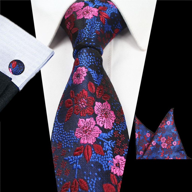 5c7acab35ecf1 RBOCOTT New Designs Fashion Floral Ties 7cm Mens Tie Silk Jacquard Neck Ties  Pocket Square Cufflinks Set For Wedding Party Suit