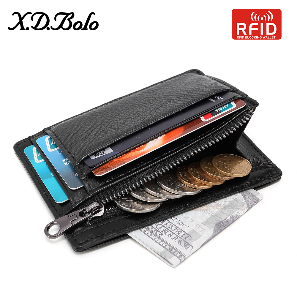 XDBOLO Wallet Male Genuine Leather Wallets RFID Men Card Wallet Mini Card Holder With Coin Pocket Small Thin Men's Slim Wallets