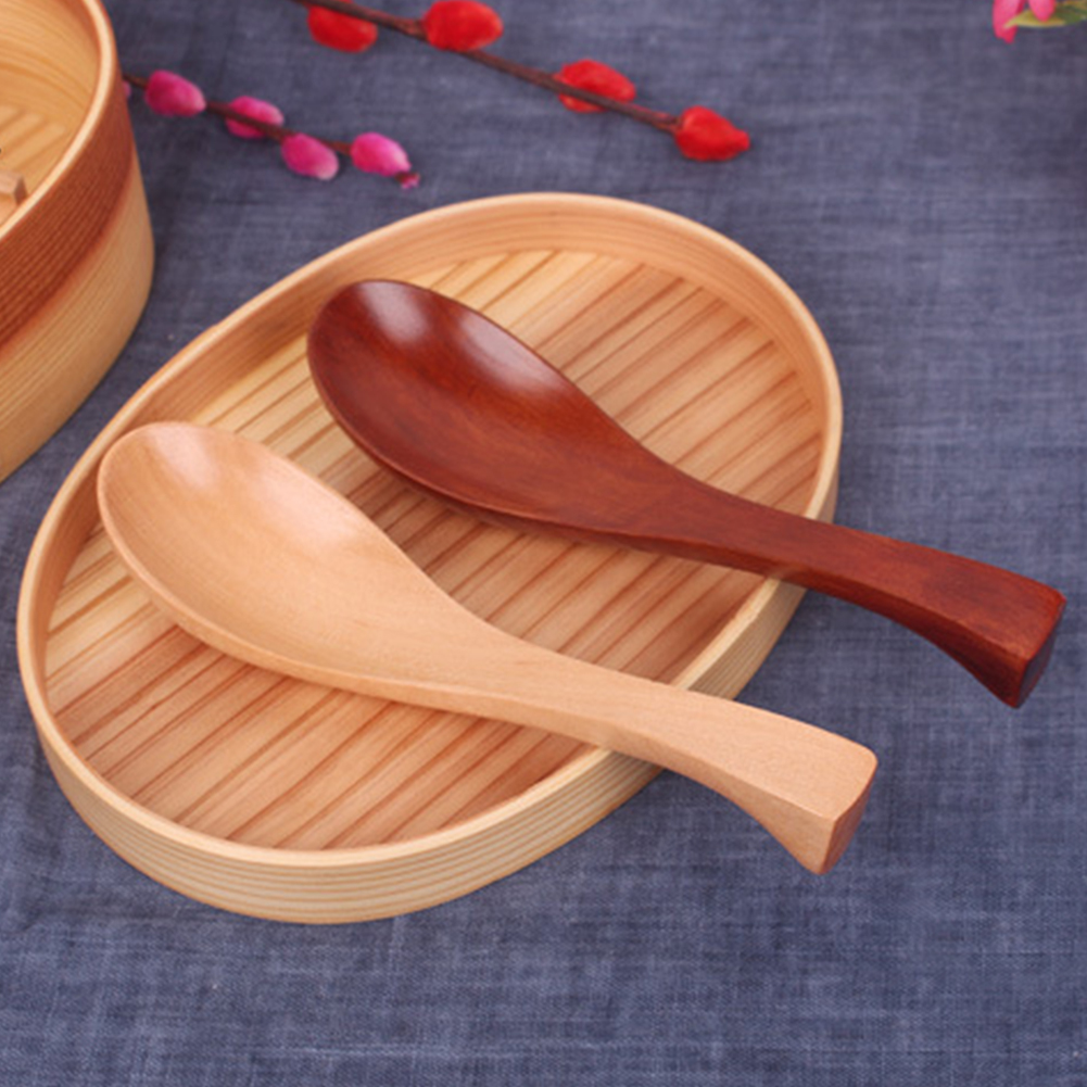 Eco-friendly Kitchen Gadget Table Handmade Soup Japanese Style Spoon Wooden Natural Durable