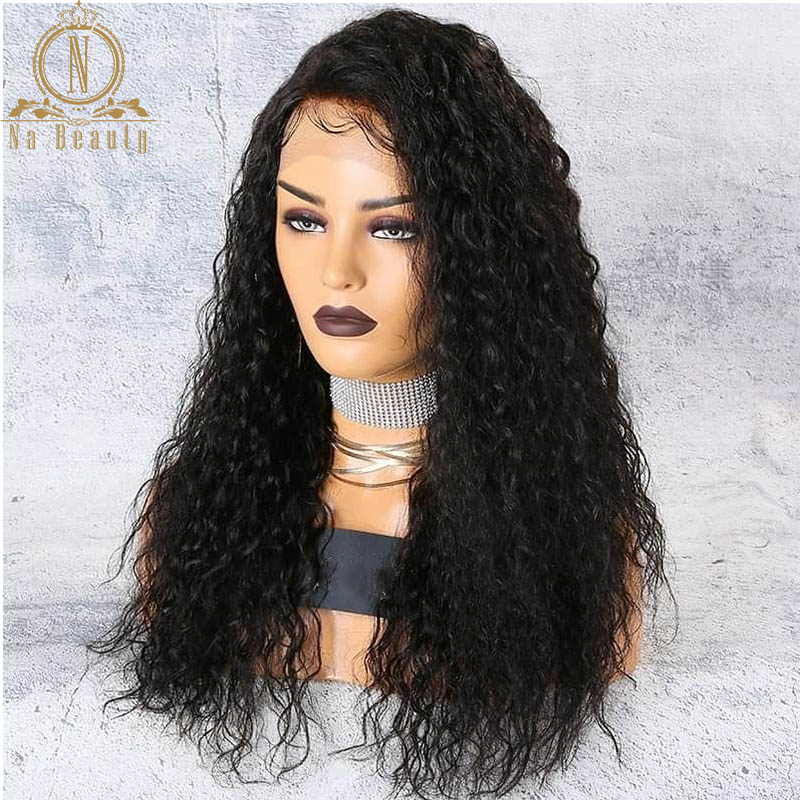Image 2 - 180 250 Density 13x6 Lace Curly Lace Front Human Hair Wigs For Women PrePlucked Brazilian Hair Wigs Nabeauty Hair Wig-in Human Hair Lace Wigs from Hair Extensions & Wigs