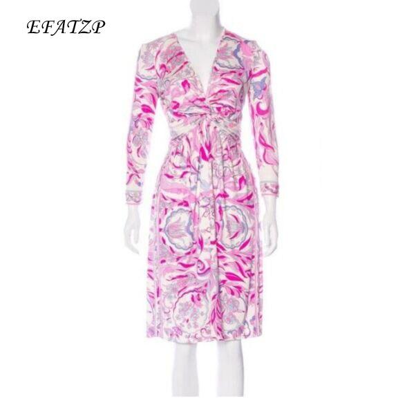 6b54f8f4d461c New Fashion 2018 Designer Brand Dress Women's Pink Geometry Printed Long  Sleeves V Neck Stretch Jersey Silk XL XXL Day Dress-in Dresses from Women's  ...
