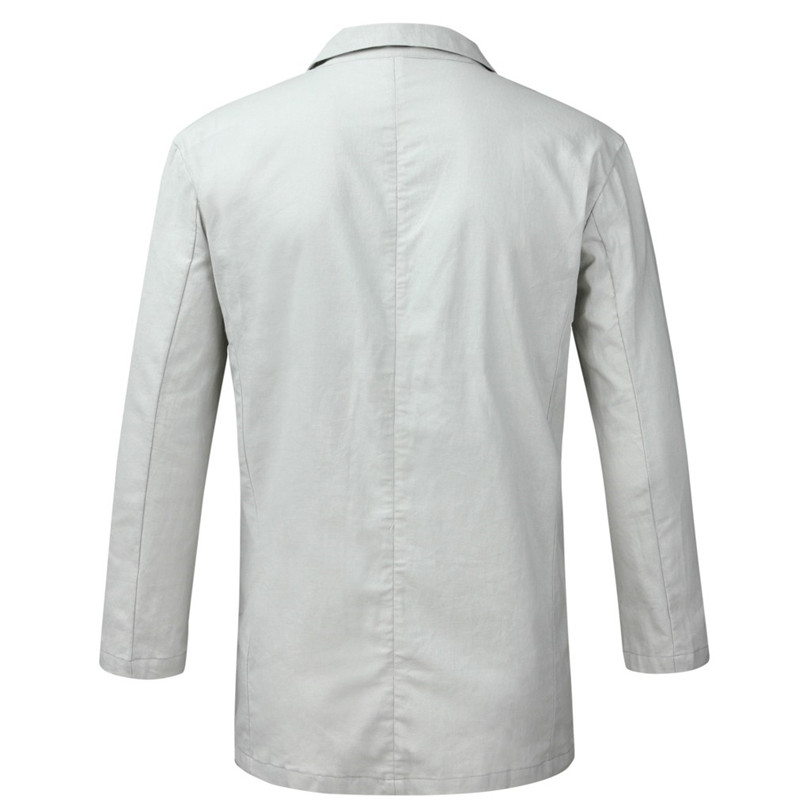 New 2019 Summer Men Slim Fit Linen Blend Casual Blazer Pocket Solid Long Sleeve Suits Blazer Jacket Outwear #E09 (20)
