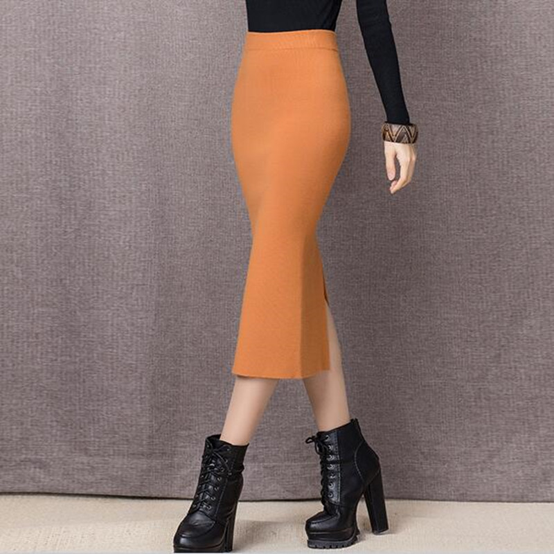 204131b7e € 13.92 |2019 Otoño e Invierno Falda Mujer tela gruesa alta cintura  trompeta Falda larga talla grande XS 6XL negro gris rojo azul púrpura de  color ...