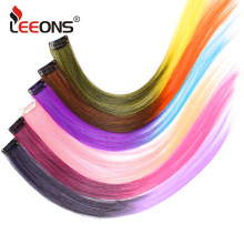 Leeons Synthetic Clip In Hair Extension Blonde Red Gray Purple Pure And Ombre Kanekalon Fake Hairpieces For Women 18 Inch Long(China)