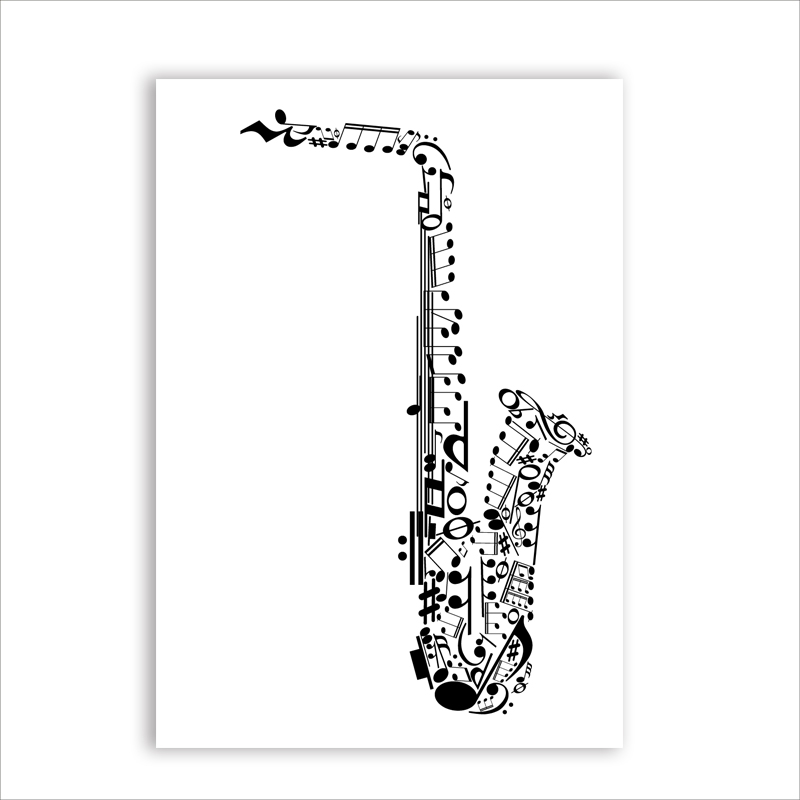 Saxophone Made With Musical Symbols Canvas Art Print Poster Wall