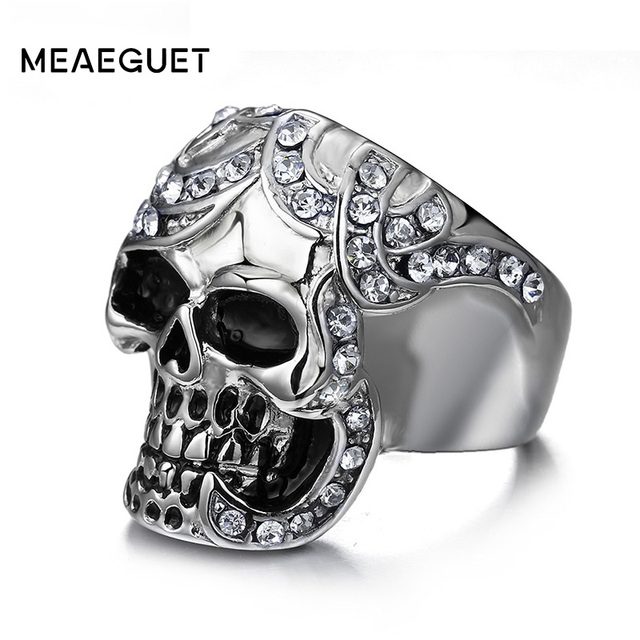 Cubic Zirconia Skull Rings Europe Silver Color Stainless Steel Party Skeleton Punk Rock Jewelry