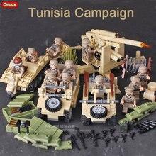 Oenux WW2 Tunisia Campaign Classic Vehicles Krupp Artillery 82 Kubelwagen Halftrack Motorcycles Model Building Block Brick Toy