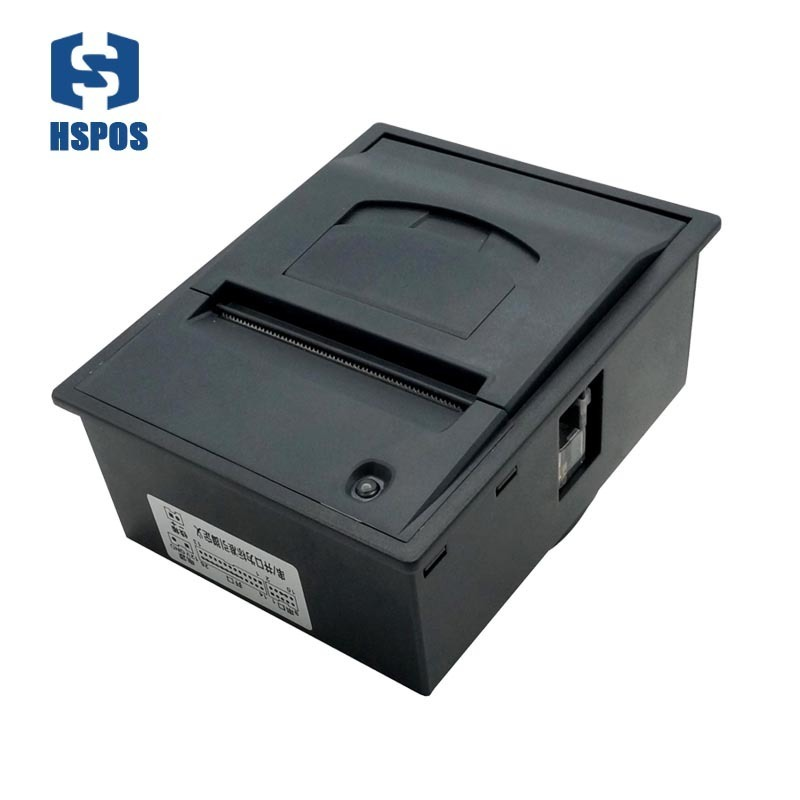 High speed 2 inch kiosk printer auto machine thermal label and receipt print rs232 or ttl port support 12V voltage HS-EB58 2 inch panel receipt printer with auto cutter high performance thermal printing turnkey module 80mm paper diameter for kiosk atm