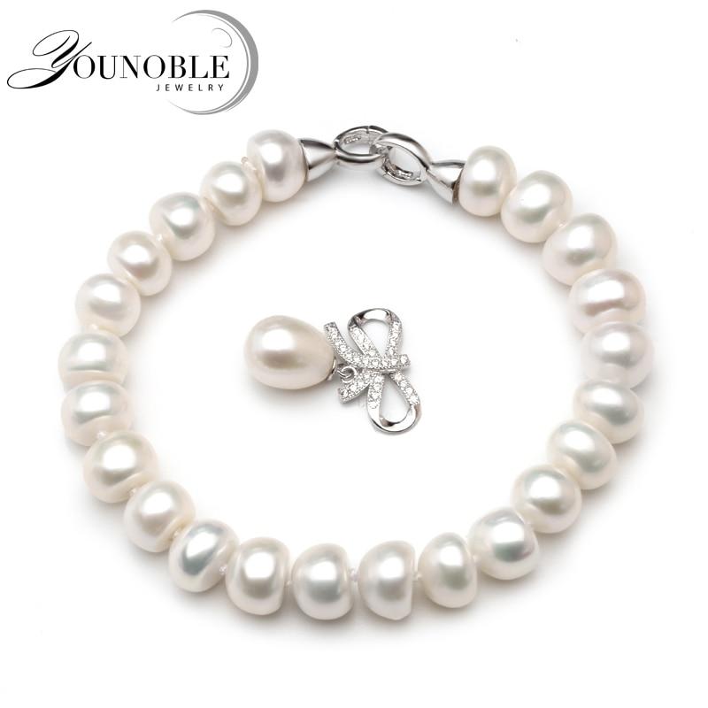 Pulsera de perlas de agua dulce de la boda para las mujeres, pulseras de perlas naturales reales 925 joyería de plata chica mejor regalo de cumpleaños de calidad superior