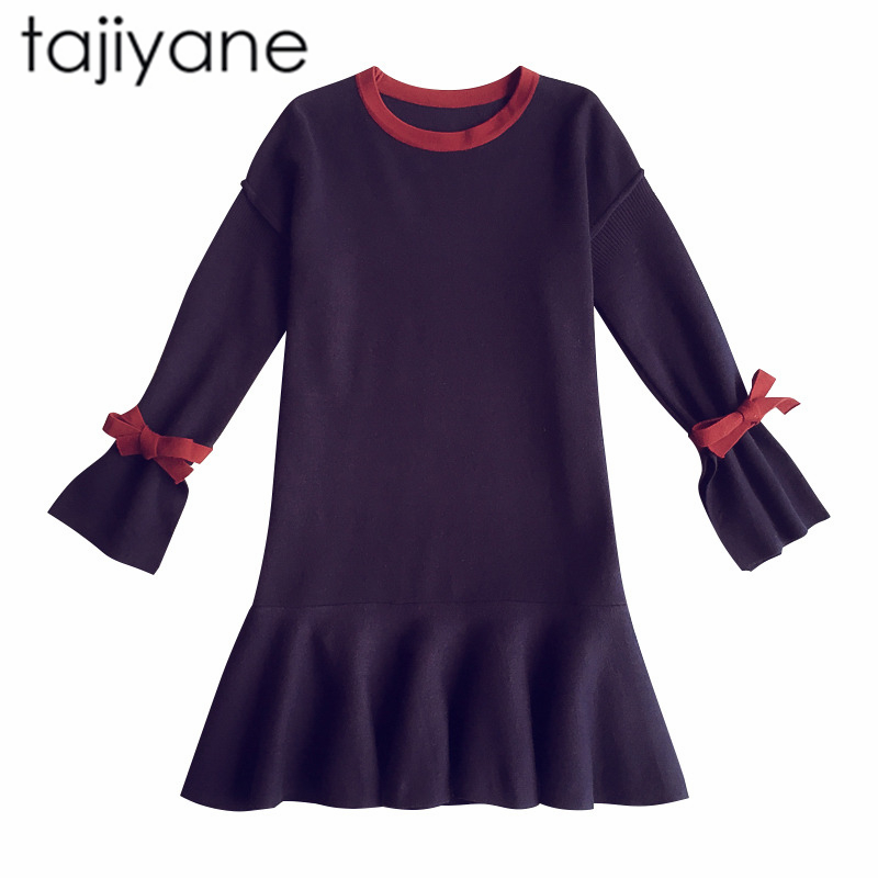 TAJIYANE Women Spring Sweet Dress Long Sleeve Thicken Party Slim Fit Package Knitted Sweaters Dresses For women Hot Sale LD226