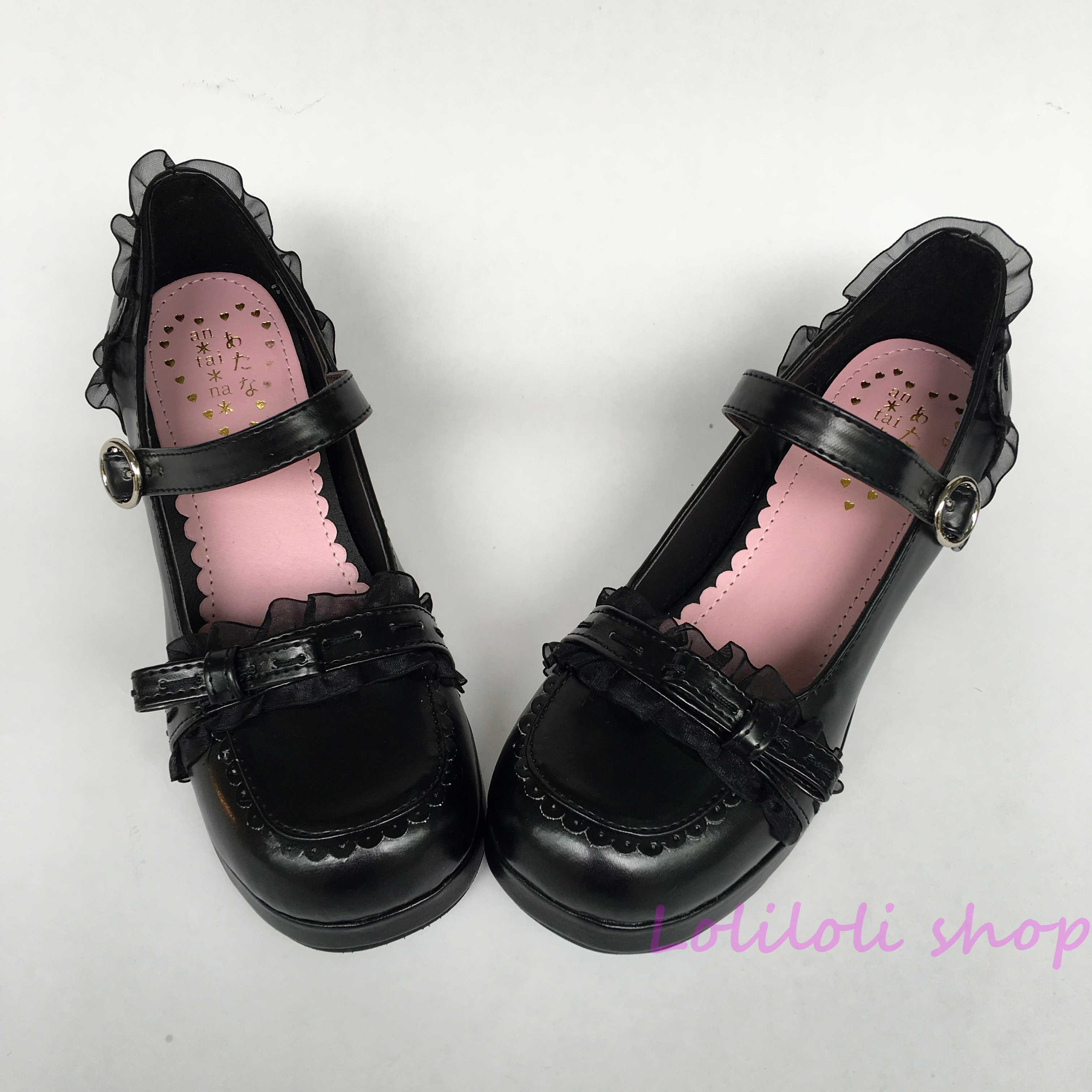 Princess sweet black lolita shoes butterfly strappy sandals Bow Lace Heiya with light crude large size shoes Japanese design1466 sweet girl s sandals with bow and velcro design