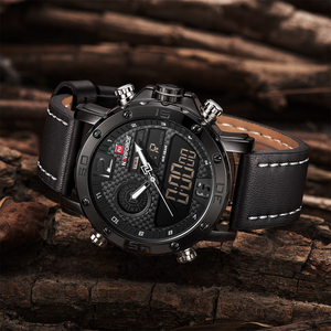 Image 4 - NAVIFORCE Mens שעונים למעלה מותג יוקרה סיבתי Led קוורץ עמיד למים קוורץ שעון עור צבאי שעון יד relogio masculino