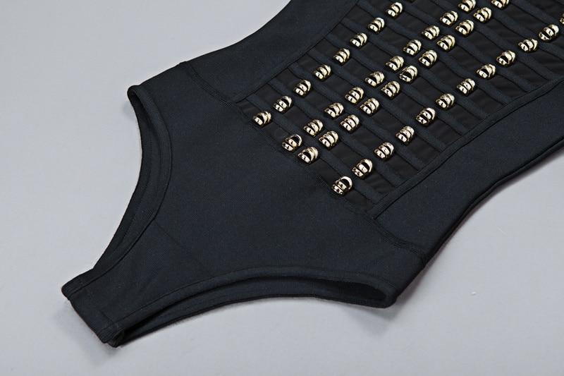 Bqueen 2017 Nya kvinnor Svart vit Långärmad Bandage Bodysuits Mesh - Damkläder - Foto 6