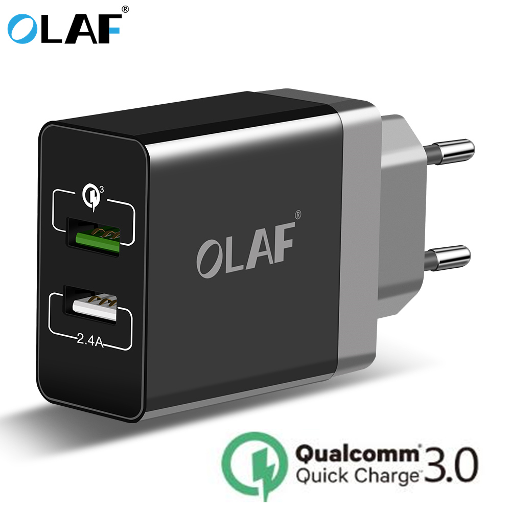 OLAF 5V 3A Mobile Phone Charger 30W USB Charger for iPhone 7 Quick Charge 3.0 Fast Charger USB Travel Adapter for Huawei Samsung