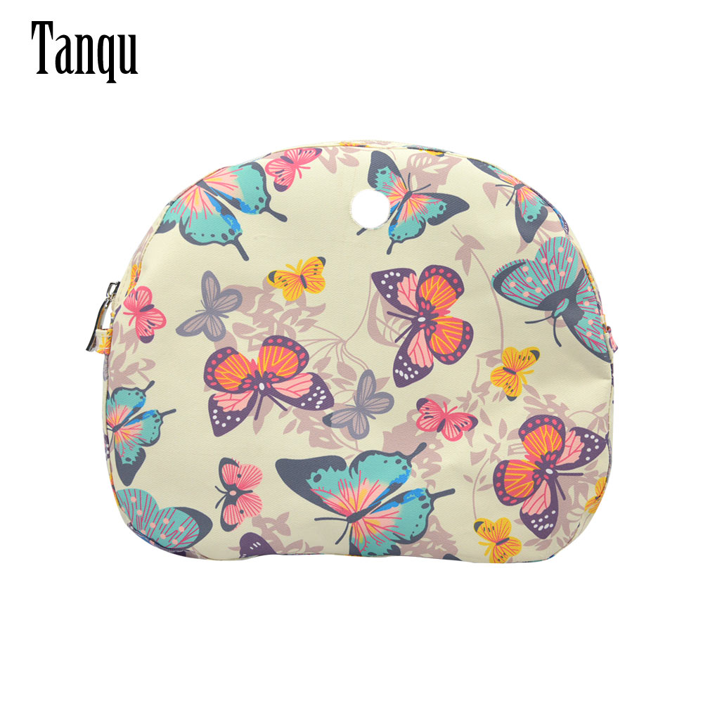TANQU New Floral Composite Twill Cloth Waterproof Inner Lining Insert Zipper Pocket For O Bag  Obag Moon Light For O Moon Light