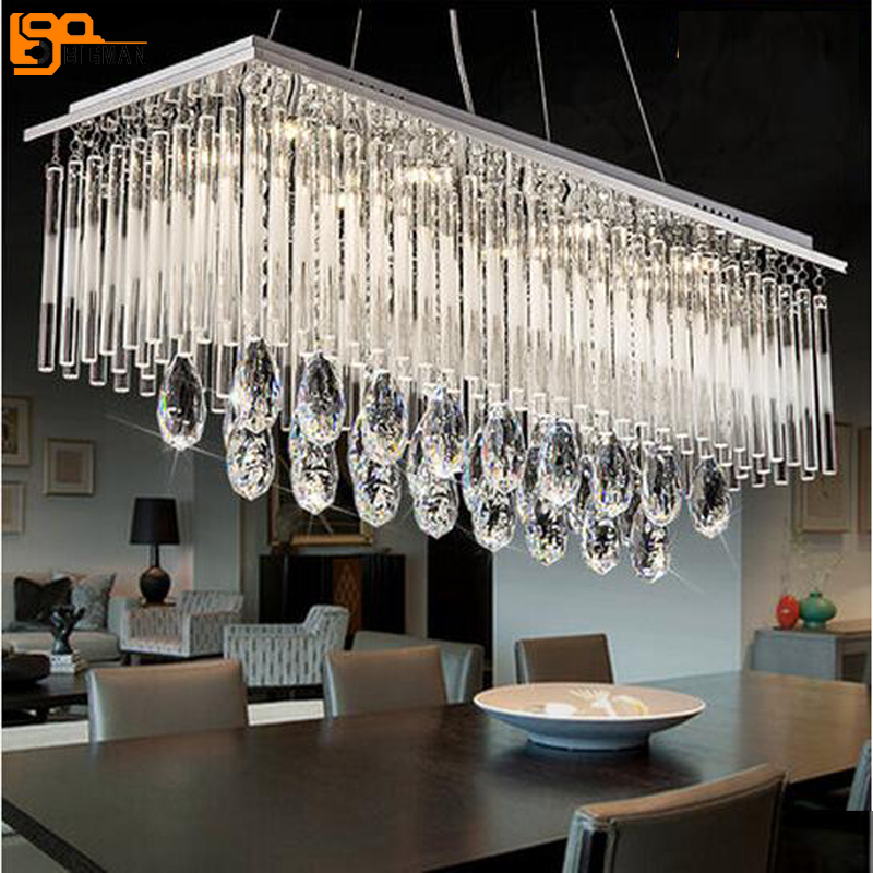 new rectangular design crystal chandelier modern lighting length 60cm 80cm 100cm lustre dinning room chandelier