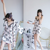 2018 2PC Robe&Gown Set Women's Bathrobe Sexy Ladies' Summer Home Dress Sleep shirts Kimono Twinset Sleepwear