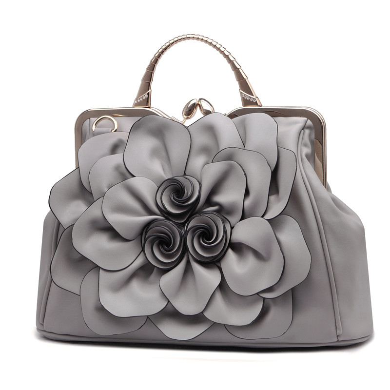 2018 Women Flowers Handbag Leisure All match Portable Shoulder Bags For Lady Soft Fashion Rose Handbags High Quality Purse-in Top-Handle Bags from Luggage & Bags    1