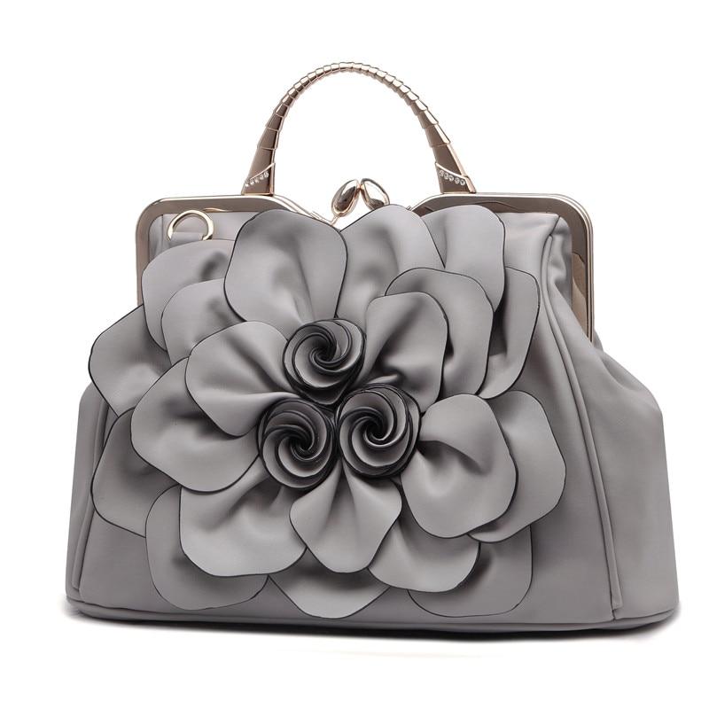 2018 femmes fleurs sac à main loisirs all match Portable sacs à bandoulière pour dame doux mode Rose sacs à main de haute qualité sac à main-in Sacs à poignées supérieures from Baggages et sacs    1