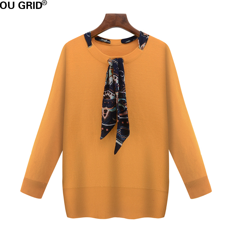 Plus size Sweater Women Spring Fashion O-neck Ribbon Design Long Sleeve High Quality Casual Knitted Sweater Xl-5XL