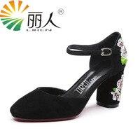 LIREN Women Shoes Genuine Leather Sandals Embroider High Heel 7CM Fashion Ethnic Floral Sandalias Leather Sandals
