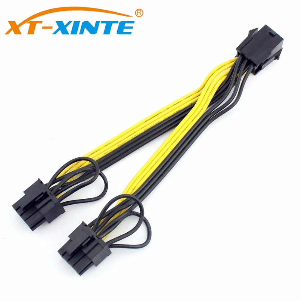 XT-XINTE PCI-E 6pin Female to Dual 8pin(6+2) Y-Splitter Cable Graphics Video Card Power Supply Adapter Cables UL 18AWG Line 15cm dhl pci e pcie gpu 6 pin 2 3pin female to dual pci e video card 6pin male power adapter cable 20cm 18awg for graphics card