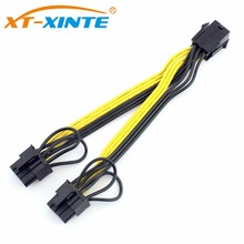 XT-XINTE PCI-E 6pin Female to Dual 8pin(6+2) Y-Splitter Cable Graphics Video Card Power Supply Adapter Cables UL 18AWG Line 15cm