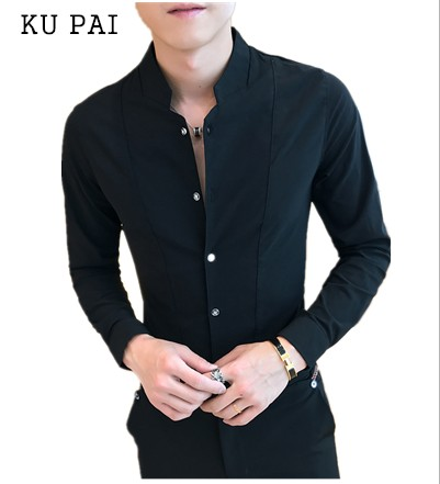 2018 Korean Fashion Men's Shirts Young Slim Autumn Casual Simple Tops Tops Ladies Pure Color Long Sleeve Shirts