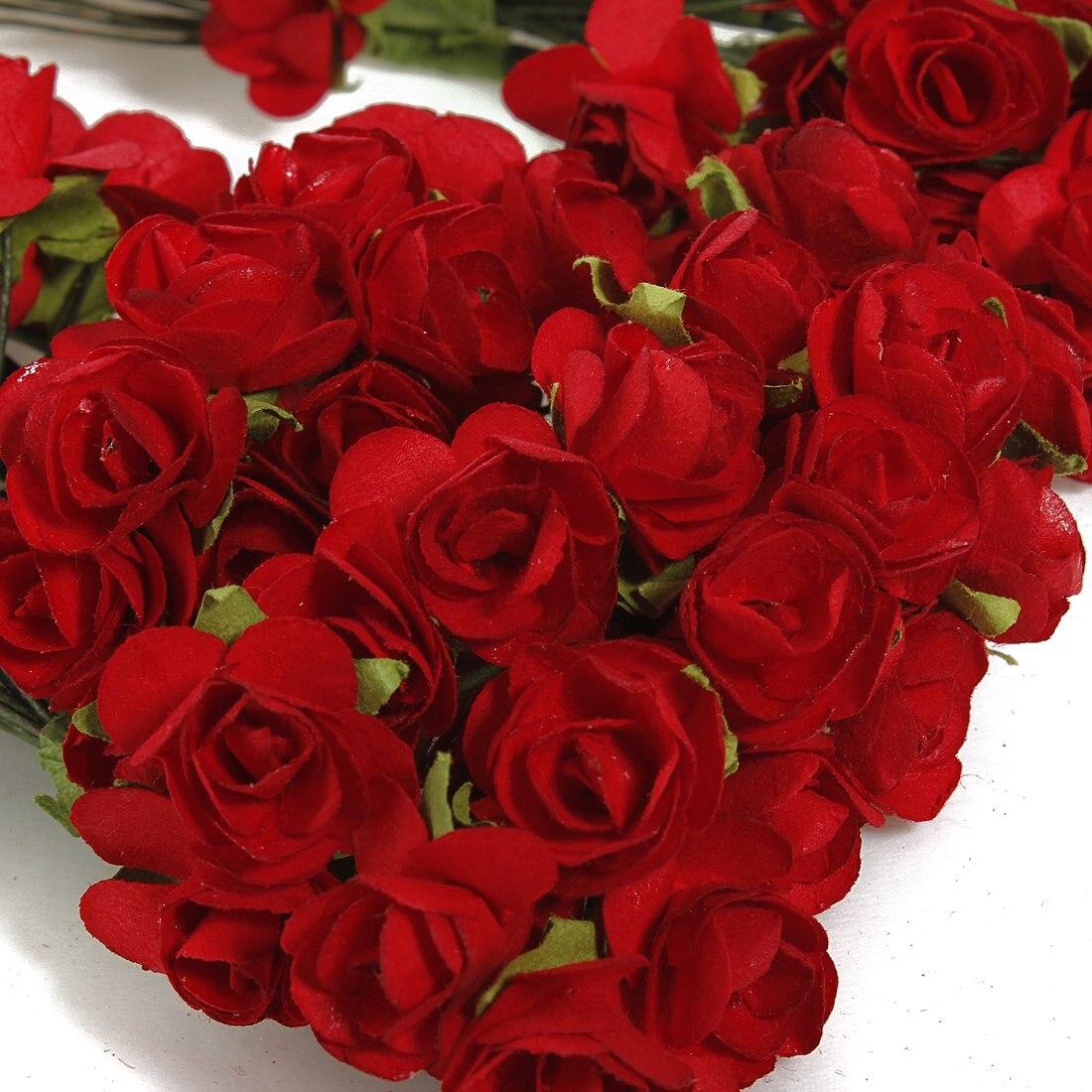 Лучшие Продажи 144 Х Искусственный Бумаги Красная Роза Цветок Свадьба Ремесло Декор