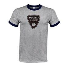 DUCATI logo print Casual Short Sleeve O-Neck Cotton T-Shirt