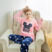 JRMISSLI Winter Women Home Clothing Pyjamas Sets Thick Warm Coral Velvet Suit Flannel Female Cartoon Sleepwear