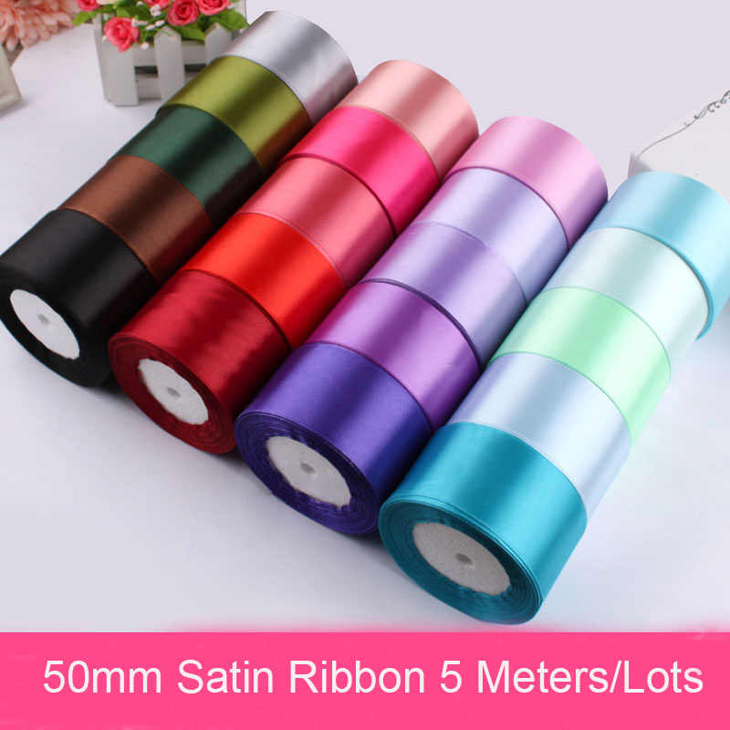 50mm Silk Satin Ribbon 5Meters/Lots White Black Blue Purple Pink Ribbons DIY Handmade Crafts Materials Christmas Gift Wrapping