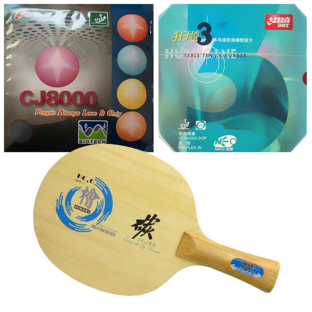 Sanwei HC.6 Blade with DHS NEO Hurricane 3/ Palio CJ8000 (BIOTECH) Rubbers for a Table Tennis Combo Racket FL