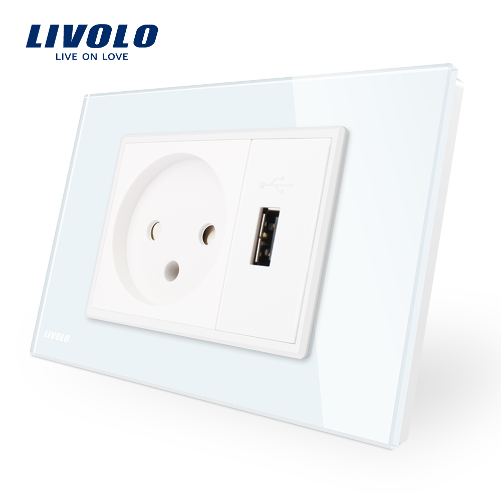 Livolo  Power Socket&Usb Socket  , White Crystal Glass Panel, AC 110~250V 16A  Wall Power Socket  , VL-C9C1IL1U-11 сливочник 250 мл white royal bone china сливочник 250 мл white