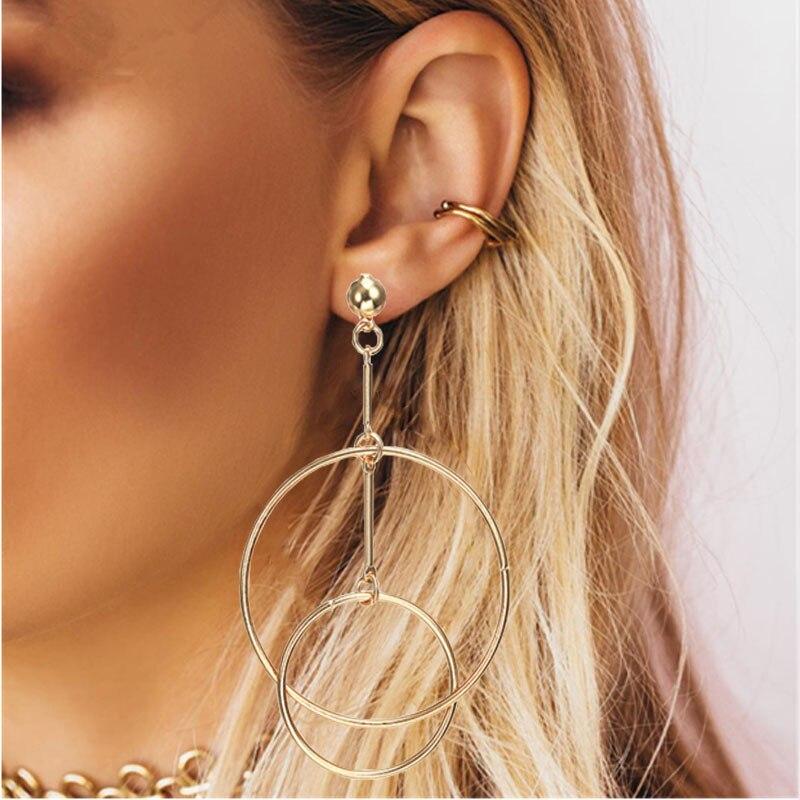 Простые модные геометрические большие круглые серьги золотого цвета с серебряным покрытием для женщин, модные большие полые висячие серьги, ювелирные изделия - Окраска металла: ez3jin