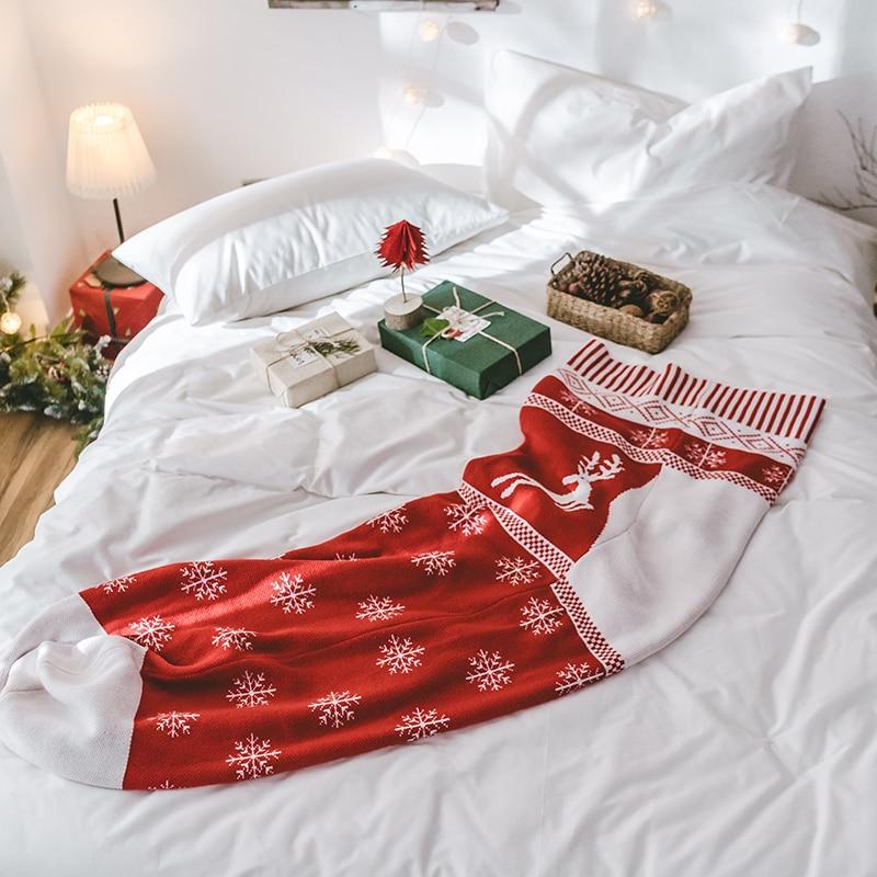 Rouge cerf bas de noël enfants sac de couchage tricoté fil doux chaud canapé canapé voiture lit jeter et couvertures pour les enfants