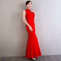 Red Modern Chinese Wedding Gowns Traditional Qipao Cheongsam Design Evening Dress Sleeveless Dresses Vestido Oriental Qi Pao