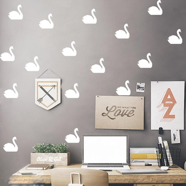 Nordic Style Cute Swan Wall Decor Animal Sticker Children Kids Baby Room Background