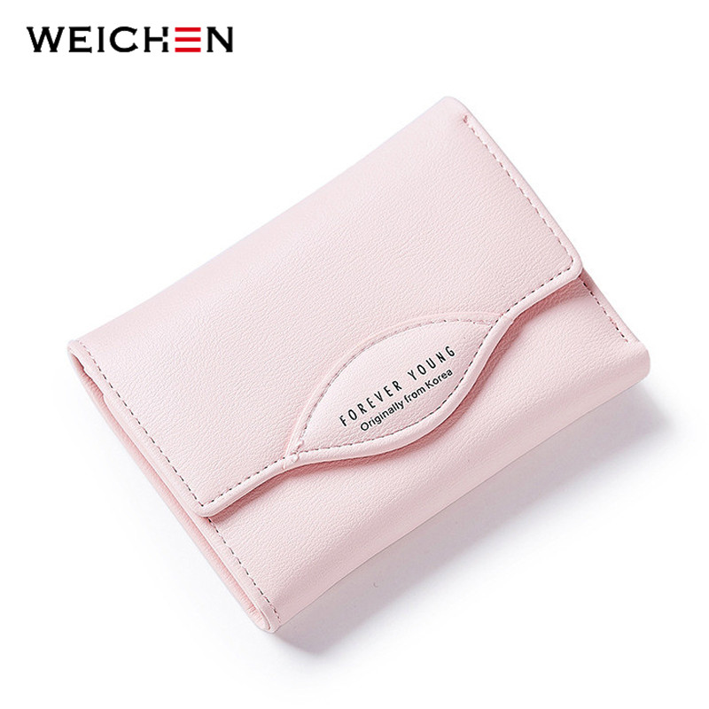 WEICHEN Short Wallet Women Hasp Fresh Female Purse Brand Designer PU Solid Money Purse Coin Pocket Ladies Small Bags 2016 new brand short women s wallet high quality guarantee designer s high heeled shoes hasp purse for lady free shipping