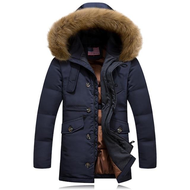 Гусиный пух Куртку Мужчин Макси Зимняя Куртка Мужчины Пальто Плюс размер Мужские Куртки И Пальто Манто Homme Hiver Abrigos Hombres #042