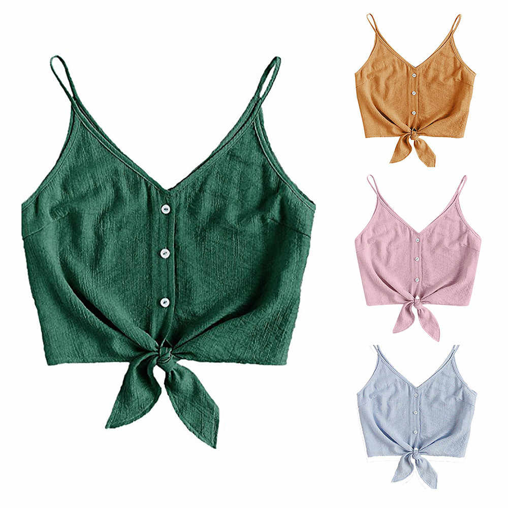 קיץ אופנה נשים כפתור עצמי עניבת סקסי סטרפלס אפוד יבול חולצות גבירותיי חולצה מזדמן שרוולים טי חולצה קיץ נשי Blus