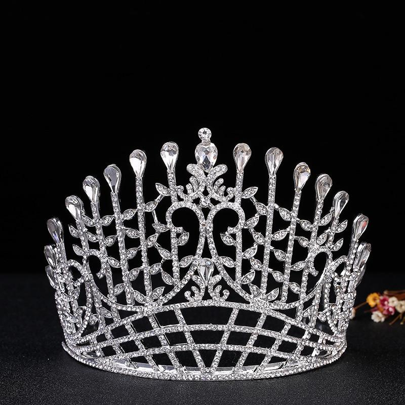 Bridal hair jewelry European crystal crown large crystal gem rhinestone crown full of luxury bridal headdress