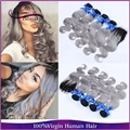4 Bundles With Closure Ombre Peruvian Virgin Hair Body Wave 1B/Grey Ombre 2 Tone Hair Weave Silver Ombre Hair Bundles Freeship
