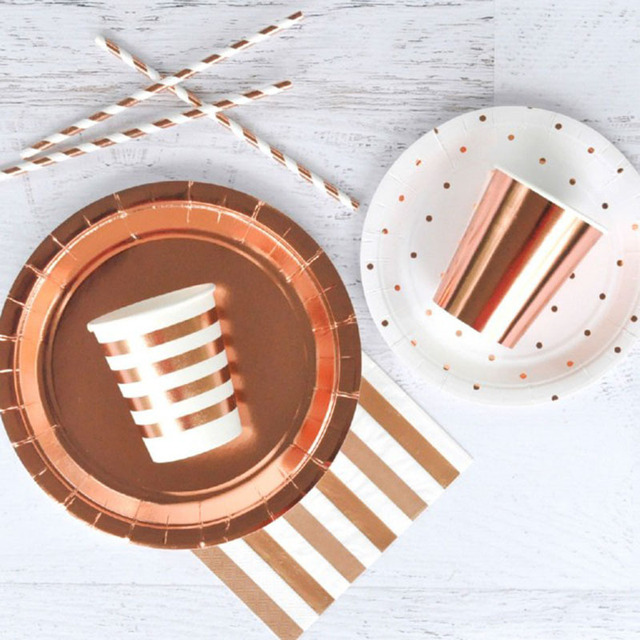 Rose Gold Party Supplies Dessert  Appetizer cups Disposable Tableaware Sets Champagne Cup Plate Wedding Birthday Party Supplies