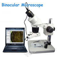 FreeDHL 20x 40x Binocular Stereo Microscope Continuous Zoom Adjustable Lift Stand 60 LED Lamp For Phone
