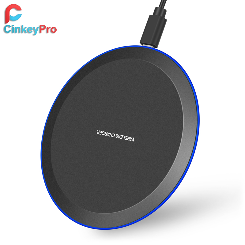 CinkeyPro Wireless Charger Pad with LED Light 5W Charging for iPhone 8 X XS Samsung XiaoMi Charge Mobile Phone USB QI Device