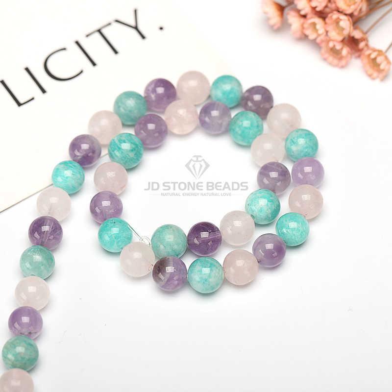 Cuentas de piedra Natural mezcla de piedras preciosas de cuarzo 4 6 8 10 12 14mm aguamarina citrino cuentas para hacer DIY pulsera collar joyas